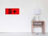 Running Man Fire Safety Exit Sign Emergency Evacuation Wall Poster 107