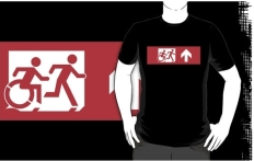 Accessible Exit Sign Project Wheelchair Wheelie Running Man Symbol Means of Egress Icon Disability Emergency Evacuation Fire Safety Adult T-shirt 1