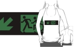 Accessible Exit Sign Project Wheelchair Wheelie Running Man Symbol Means of Egress Icon Disability Emergency Evacuation Fire Safety Adult T-shirt 100