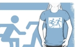 Accessible Exit Sign Project Wheelchair Wheelie Running Man Symbol Means of Egress Icon Disability Emergency Evacuation Fire Safety Adult T-shirt 101