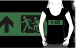 Accessible Exit Sign Project Wheelchair Wheelie Running Man Symbol Means of Egress Icon Disability Emergency Evacuation Fire Safety Adult T-shirt 102