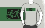 Accessible Exit Sign Project Wheelchair Wheelie Running Man Symbol Means of Egress Icon Disability Emergency Evacuation Fire Safety Adult T-shirt 104