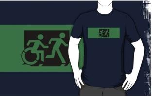 Accessible Exit Sign Project Wheelchair Wheelie Running Man Symbol Means of Egress Icon Disability Emergency Evacuation Fire Safety Adult T-shirt 105