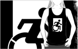 Accessible Exit Sign Project Wheelchair Wheelie Running Man Symbol Means of Egress Icon Disability Emergency Evacuation Fire Safety Adult t-shirt 107