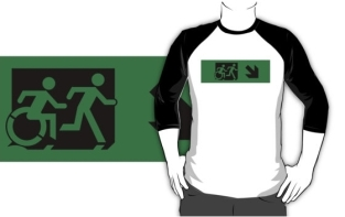 Accessible Exit Sign Project Wheelchair Wheelie Running Man Symbol Means of Egress Icon Disability Emergency Evacuation Fire Safety Adult T-shirt 108