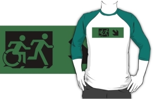 Accessible Exit Sign Project Wheelchair Wheelie Running Man Symbol Means of Egress Icon Disability Emergency Evacuation Fire Safety Adult T-shirt 109