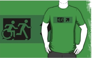 Accessible Exit Sign Project Wheelchair Wheelie Running Man Symbol Means of Egress Icon Disability Emergency Evacuation Fire Safety Adult T-shirt 111