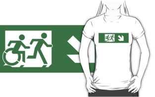 Accessible Exit Sign Project Wheelchair Wheelie Running Man Symbol Means of Egress Icon Disability Emergency Evacuation Fire Safety Adult T-shirt 112