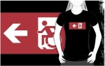 Accessible Exit Sign Project Wheelchair Wheelie Running Man Symbol Means of Egress Icon Disability Emergency Evacuation Fire Safety Adult t-shirt 113