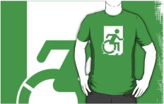 Accessible Exit Sign Project Wheelchair Wheelie Running Man Symbol Means of Egress Icon Disability Emergency Evacuation Fire Safety Adult t-shirt 114