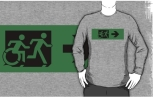 Accessible Exit Sign Project Wheelchair Wheelie Running Man Symbol Means of Egress Icon Disability Emergency Evacuation Fire Safety Adult T-shirt 116