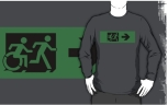 Accessible Exit Sign Project Wheelchair Wheelie Running Man Symbol Means of Egress Icon Disability Emergency Evacuation Fire Safety Adult T-shirt 117
