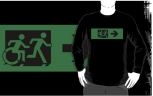 Accessible Exit Sign Project Wheelchair Wheelie Running Man Symbol Means of Egress Icon Disability Emergency Evacuation Fire Safety Adult T-shirt 118