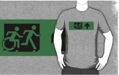 Accessible Exit Sign Project Wheelchair Wheelie Running Man Symbol Means of Egress Icon Disability Emergency Evacuation Fire Safety Adult T-shirt 119