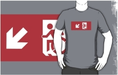 Accessible Exit Sign Project Wheelchair Wheelie Running Man Symbol Means of Egress Icon Disability Emergency Evacuation Fire Safety Adult t-shirt 120