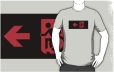 Accessible Exit Sign Project Wheelchair Wheelie Running Man Symbol Means of Egress Icon Disability Emergency Evacuation Fire Safety Adult t-shirt 12