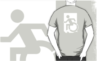 Accessible Exit Sign Project Wheelchair Wheelie Running Man Symbol Means of Egress Icon Disability Emergency Evacuation Fire Safety Adult t-shirt 121