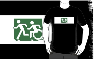 Accessible Exit Sign Project Wheelchair Wheelie Running Man Symbol Means of Egress Icon Disability Emergency Evacuation Fire Safety Adult T-shirt 122
