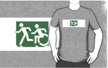 Accessible Exit Sign Project Wheelchair Wheelie Running Man Symbol Means of Egress Icon Disability Emergency Evacuation Fire Safety Adult T-shirt 123