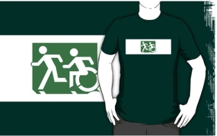 Accessible Exit Sign Project Wheelchair Wheelie Running Man Symbol Means of Egress Icon Disability Emergency Evacuation Fire Safety Adult T-shirt 124