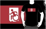 Accessible Exit Sign Project Wheelchair Wheelie Running Man Symbol Means of Egress Icon Disability Emergency Evacuation Fire Safety Adult t-shirt 125