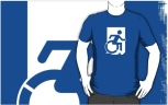 Accessible Exit Sign Project Wheelchair Wheelie Running Man Symbol Means of Egress Icon Disability Emergency Evacuation Fire Safety Adult t-shirt 126