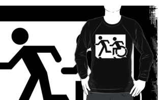 Accessible Exit Sign Project Wheelchair Wheelie Running Man Symbol Means of Egress Icon Disability Emergency Evacuation Fire Safety Adult T-shirt 127