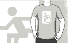 Accessible Exit Sign Project Wheelchair Wheelie Running Man Symbol Means of Egress Icon Disability Emergency Evacuation Fire Safety Adult t-shirt 128
