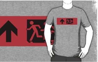 Accessible Exit Sign Project Wheelchair Wheelie Running Man Symbol Means of Egress Icon Disability Emergency Evacuation Fire Safety Adult T-shirt 13