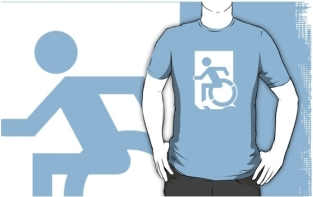 Accessible Exit Sign Project Wheelchair Wheelie Running Man Symbol Means of Egress Icon Disability Emergency Evacuation Fire Safety Adult t-shirt 130