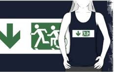 Accessible Exit Sign Project Wheelchair Wheelie Running Man Symbol Means of Egress Icon Disability Emergency Evacuation Fire Safety Adult T-shirt 131