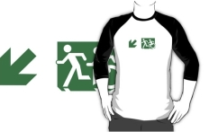 Accessible Exit Sign Project Wheelchair Wheelie Running Man Symbol Means of Egress Icon Disability Emergency Evacuation Fire Safety Adult T-shirt 134