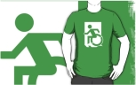 Accessible Exit Sign Project Wheelchair Wheelie Running Man Symbol Means of Egress Icon Disability Emergency Evacuation Fire Safety Adult t-shirt 135
