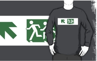 Accessible Exit Sign Project Wheelchair Wheelie Running Man Symbol Means of Egress Icon Disability Emergency Evacuation Fire Safety Adult T-shirt 136
