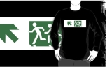 Accessible Exit Sign Project Wheelchair Wheelie Running Man Symbol Means of Egress Icon Disability Emergency Evacuation Fire Safety Adult T-shirt 137