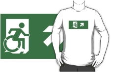 Accessible Exit Sign Project Wheelchair Wheelie Running Man Symbol Means of Egress Icon Disability Emergency Evacuation Fire Safety Adult t-shirt 138