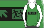 Accessible Exit Sign Project Wheelchair Wheelie Running Man Symbol Means of Egress Icon Disability Emergency Evacuation Fire Safety Adult T-shirt 139