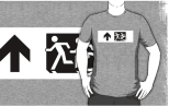Accessible Exit Sign Project Wheelchair Wheelie Running Man Symbol Means of Egress Icon Disability Emergency Evacuation Fire Safety Adult T-shirt 14