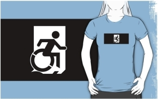 Accessible Exit Sign Project Wheelchair Wheelie Running Man Symbol Means of Egress Icon Disability Emergency Evacuation Fire Safety Adult t-shirt 140