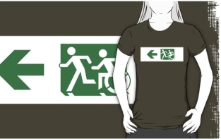 Accessible Exit Sign Project Wheelchair Wheelie Running Man Symbol Means of Egress Icon Disability Emergency Evacuation Fire Safety Adult T-shirt 141