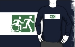 Accessible Exit Sign Project Wheelchair Wheelie Running Man Symbol Means of Egress Icon Disability Emergency Evacuation Fire Safety Adult T-shirt 143