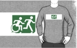 Accessible Exit Sign Project Wheelchair Wheelie Running Man Symbol Means of Egress Icon Disability Emergency Evacuation Fire Safety Adult T-shirt 144