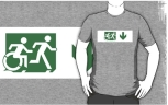 Accessible Exit Sign Project Wheelchair Wheelie Running Man Symbol Means of Egress Icon Disability Emergency Evacuation Fire Safety Adult T-shirt 145