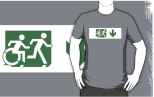 Accessible Exit Sign Project Wheelchair Wheelie Running Man Symbol Means of Egress Icon Disability Emergency Evacuation Fire Safety Adult T-shirt 146