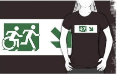 Accessible Exit Sign Project Wheelchair Wheelie Running Man Symbol Means of Egress Icon Disability Emergency Evacuation Fire Safety Adult T-shirt 147