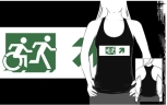Accessible Exit Sign Project Wheelchair Wheelie Running Man Symbol Means of Egress Icon Disability Emergency Evacuation Fire Safety Adult T-shirt 148