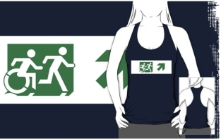 Accessible Exit Sign Project Wheelchair Wheelie Running Man Symbol Means of Egress Icon Disability Emergency Evacuation Fire Safety Adult T-shirt 149