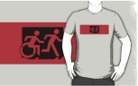 Accessible Exit Sign Project Wheelchair Wheelie Running Man Symbol Means of Egress Icon Disability Emergency Evacuation Fire Safety Adult T-shirt 15