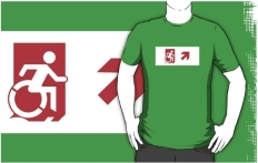 Accessible Exit Sign Project Wheelchair Wheelie Running Man Symbol Means of Egress Icon Disability Emergency Evacuation Fire Safety Adult t-shirt 150