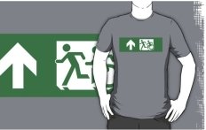 Accessible Exit Sign Project Wheelchair Wheelie Running Man Symbol Means of Egress Icon Disability Emergency Evacuation Fire Safety Adult T-shirt 151